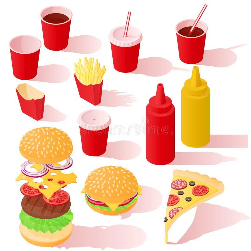 Sistema isométrico del icono de los alimentos de preparación rápida foto de archivo
