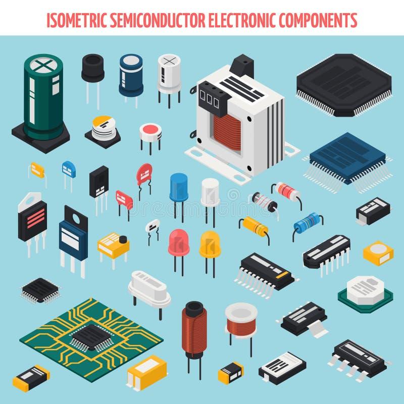 Sistema isométrico del icono de los componentes electrónicos del semiconductor libre illustration