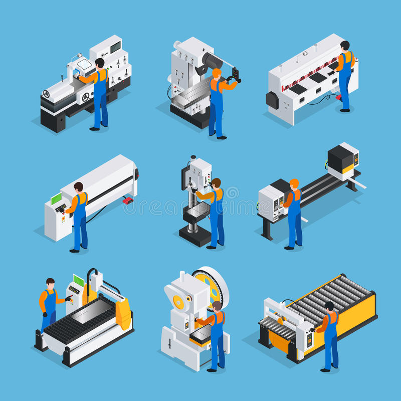 Sistema isométrico del icono del metalúrgico libre illustration