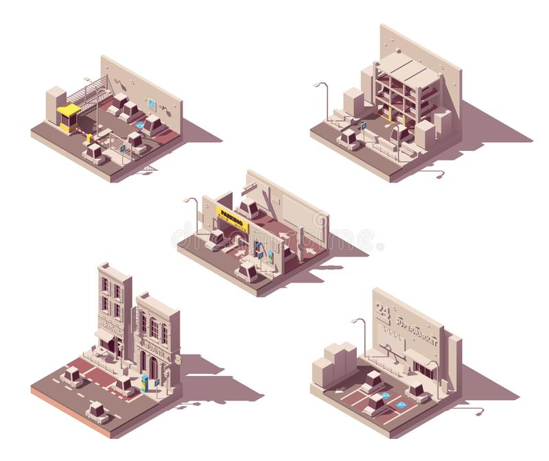 Sistema isométrico del icono del estacionamiento del coche del vector ilustración del vector
