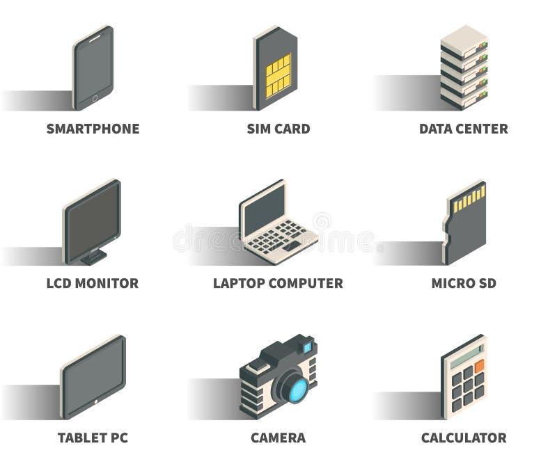 Sistema isométrico del icono del web 3D stock de ilustración