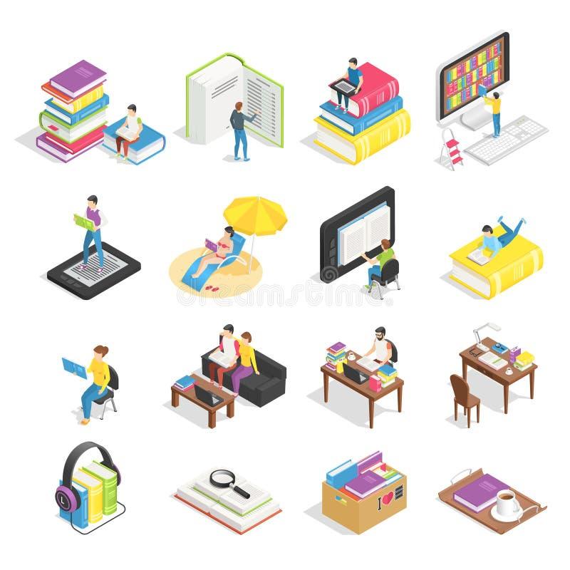 Sistema isométrico del libro Libros de lectura, libros de texto para el aprendizaje del estudiante e iconos de los ebooks Libro d ilustración del vector