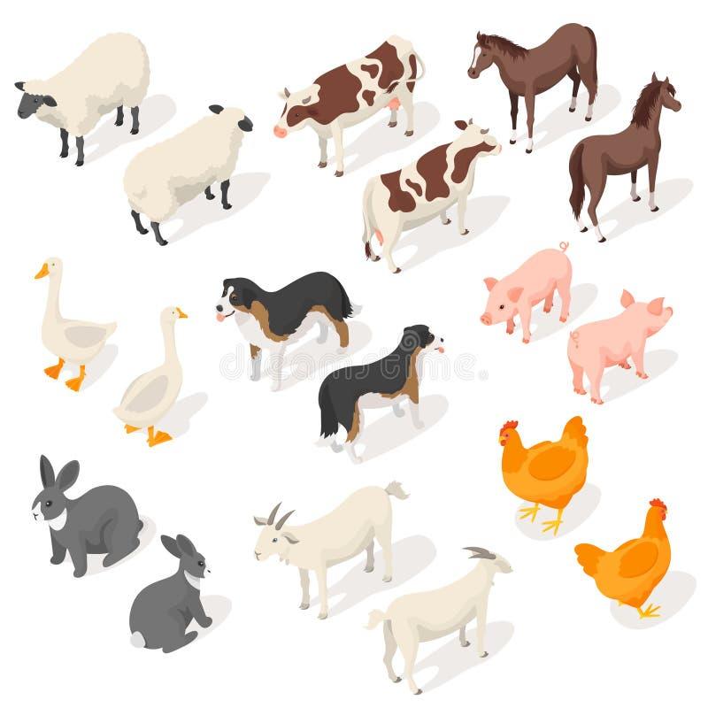 Sistema isométrico del vector 3d de animales del campo stock de ilustración