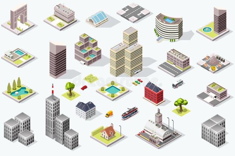 Sistema isométrico del vector de la calidad de la ciudad libre illustration