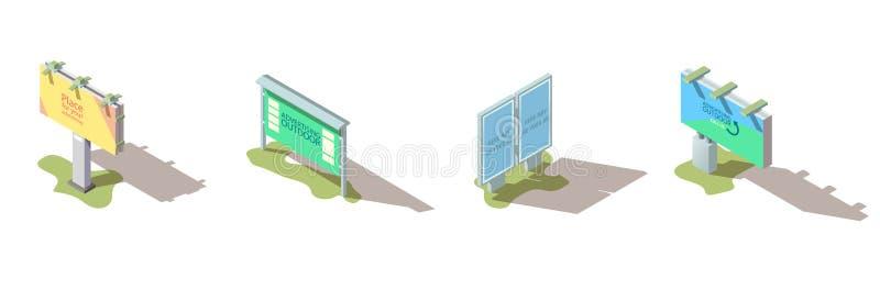 Sistema isométrico del vector de la cartelera de publicidad al aire libre libre illustration