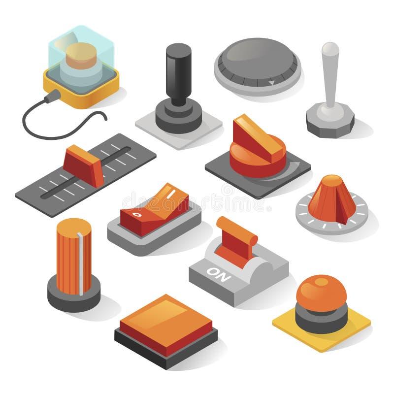 Sistema isométrico del vector de los botones aislado de fondo stock de ilustración