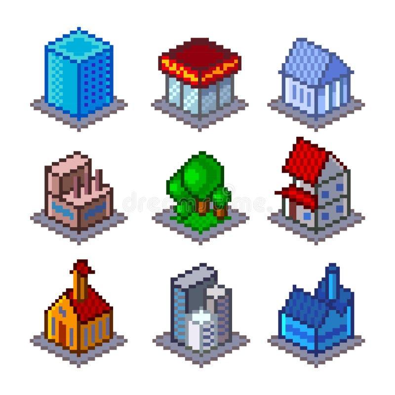 Sistema isométrico del vector de los iconos de los edificios de la ciudad del pixel stock de ilustración