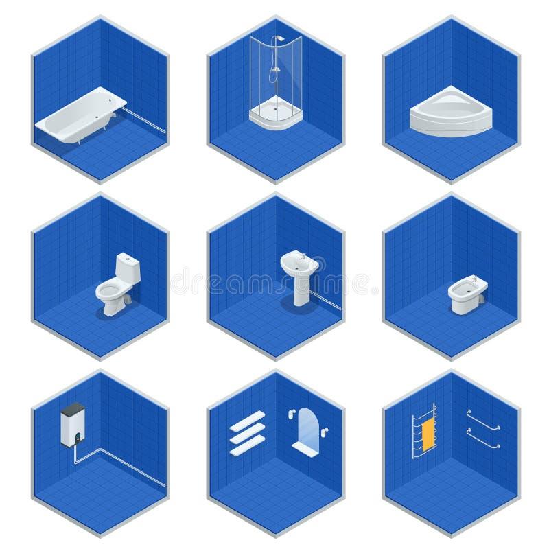 Sistema isométrico del vector de muebles del cuarto de baño Jacuzzi, baño, caldera, lavabo, ducha, ducha, retrete, bidé, secador ilustración del vector