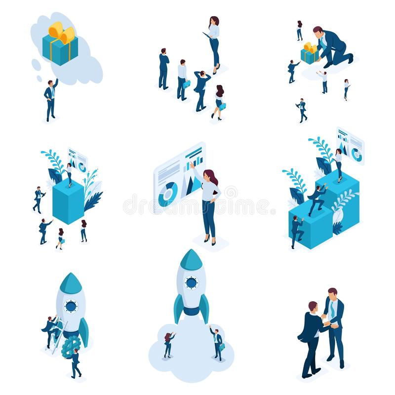 Sistema isométrico grande de conceptos del negocio de creación y de desarrollo de lanzamiento, análisis de datos, gestión de dato libre illustration