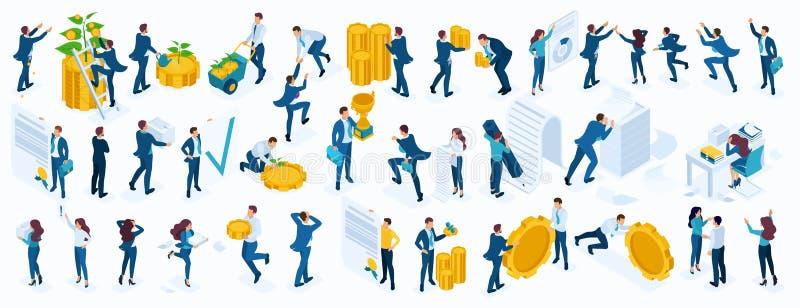Sistema isométrico grande de los hombres de negocios, hombres de negocios, empresaria, empleados, inversores, directores, contabl ilustración del vector