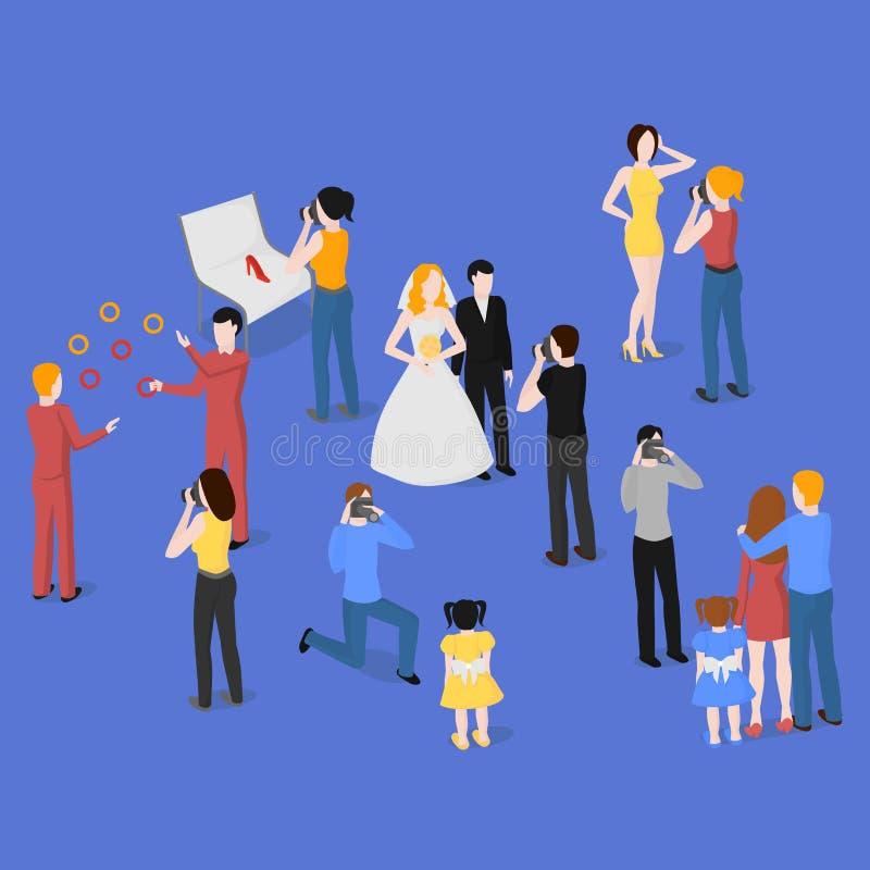 Sistema isométrico plano de fotógrafos Fotografía de la boda, de la familia y de los niños Paparazzis, periodista Fashion, report ilustración del vector