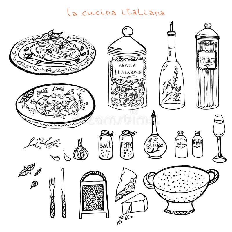 Sistema italiano de la cocina imagen de archivo libre de regalías