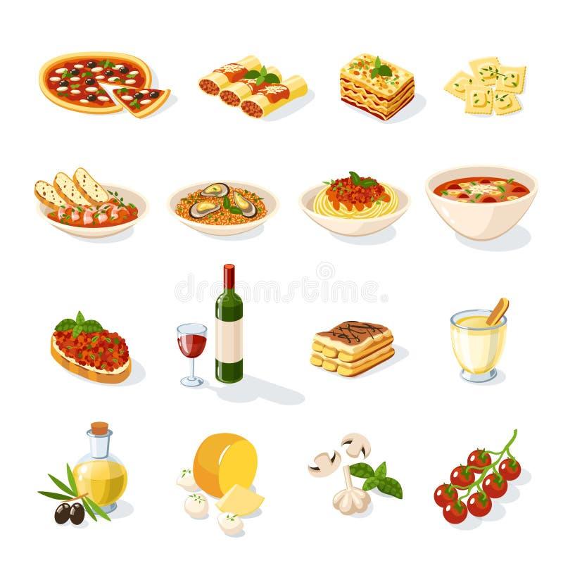 Sistema italiano de la comida stock de ilustración