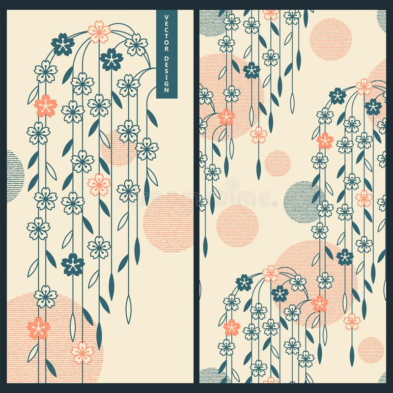 Sistema japonés con las tarjetas del vector y modelo inconsútil del vector con los ornamentos y las flores japoneses tradicionale libre illustration