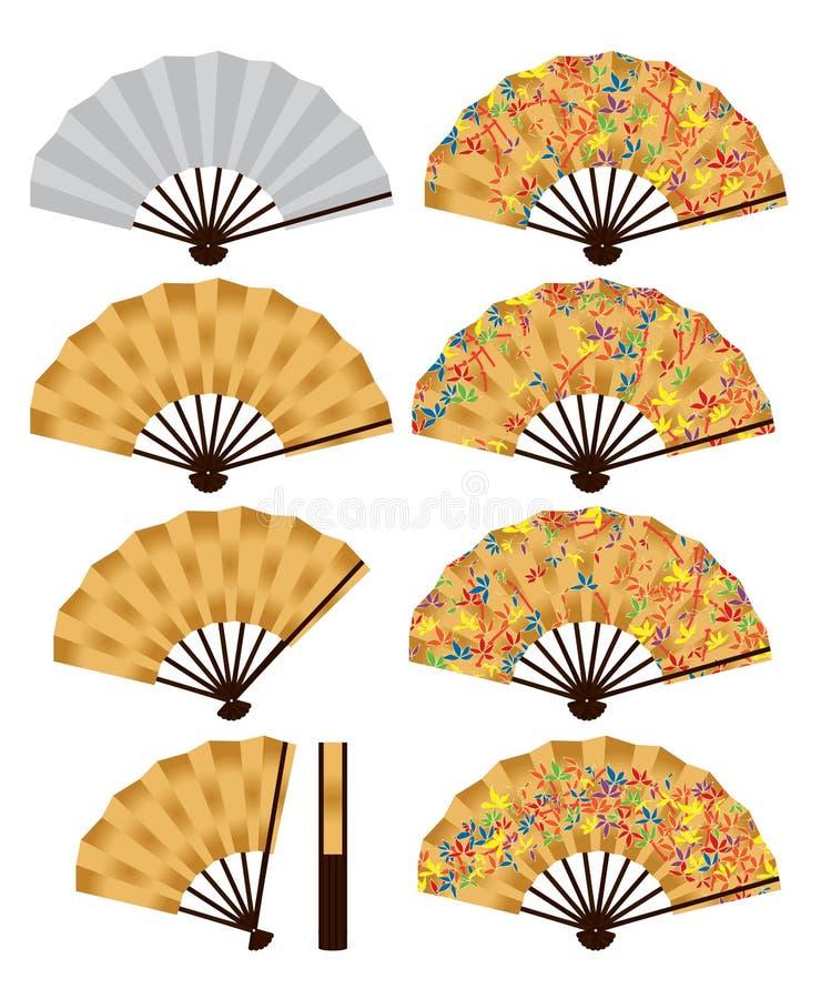 Sistema japonés del bambú de la fan ilustración del vector