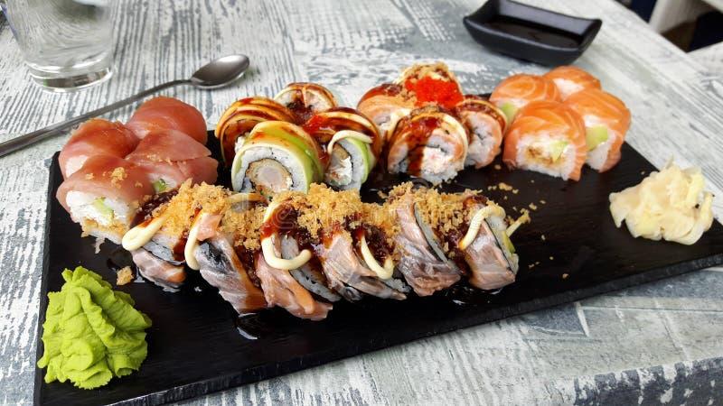 Sistema japonés del sushi fotos de archivo