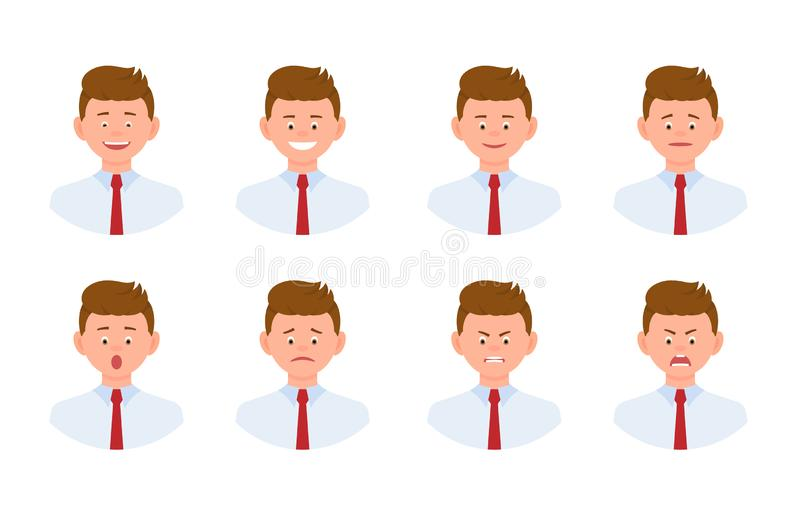 Sistema joven del diseño del hombre de la oficina del personaje de dibujos animados emocional de la cara libre illustration