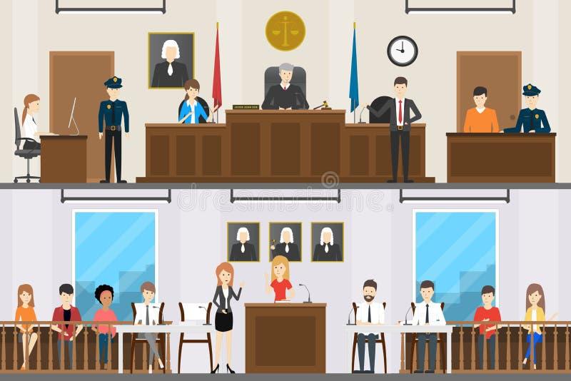 Sistema judicial del interior de la corte libre illustration