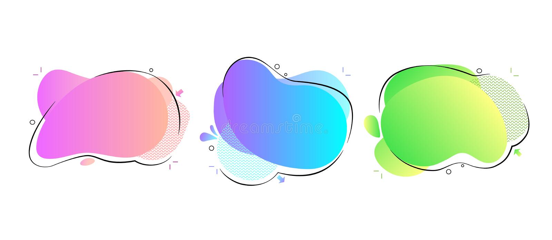 Sistema líquido abstracto colorido geométrico de las formas Dise?o fl?ido de moda Las ondas de la pendiente diseñan el fondo blan stock de ilustración