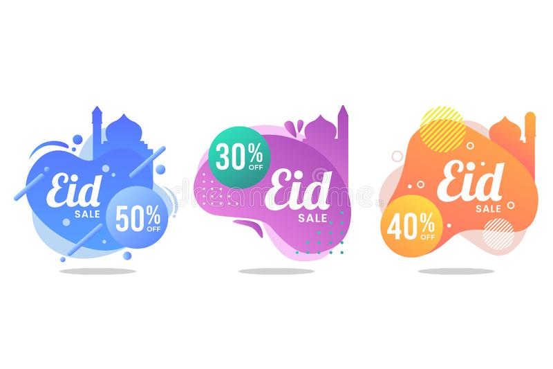 Sistema líquido de la bandera de la venta de Eid Mubarak imagen de archivo