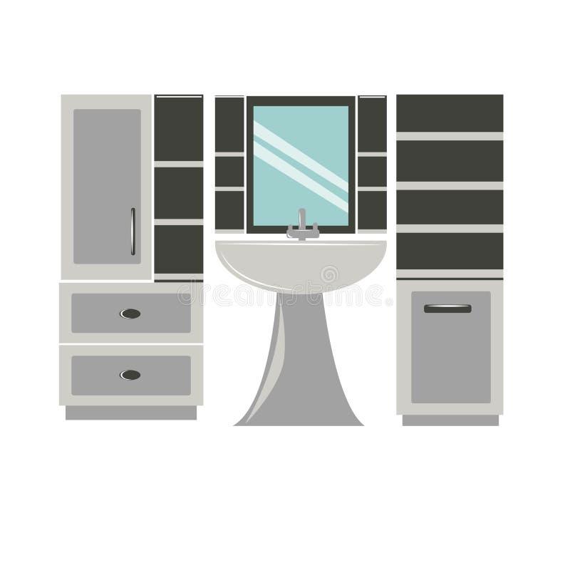 Sistema, lavabo y espejo de los muebles del cuarto de baño libre illustration