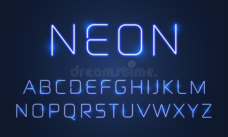 Sistema ligero de neón de las letras del alfabeto de la fuente Efecto de neón ultravioleta azul de las lámparas de la fuente del  ilustración del vector