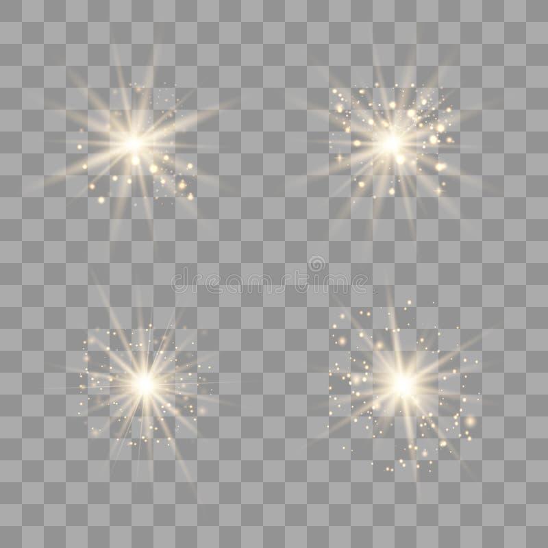 Sistema ligero del oro con polvo stock de ilustración