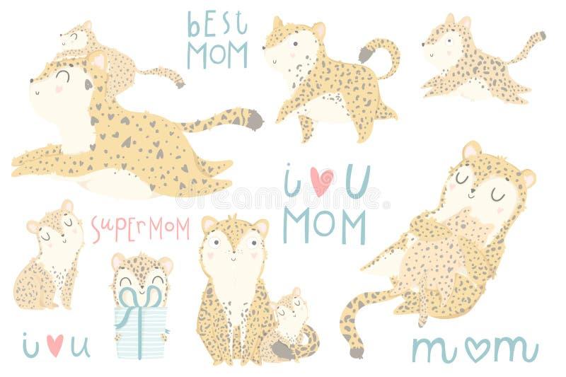 Sistema lindo de ejemplos con la madre adorable del leopardo y su bebé ilustración del vector