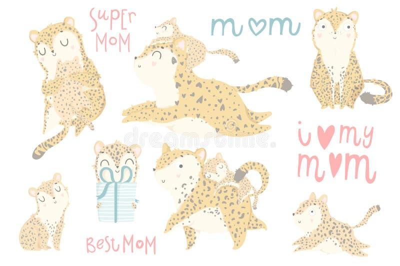 Sistema lindo de ejemplos con la madre adorable del leopardo y su bebé stock de ilustración