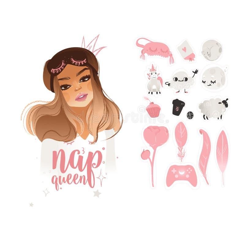 Sistema lindo de etiquetas engomadas rosadas de moda con una reina y letras rubias de la muchacha de la siesta libre illustration
