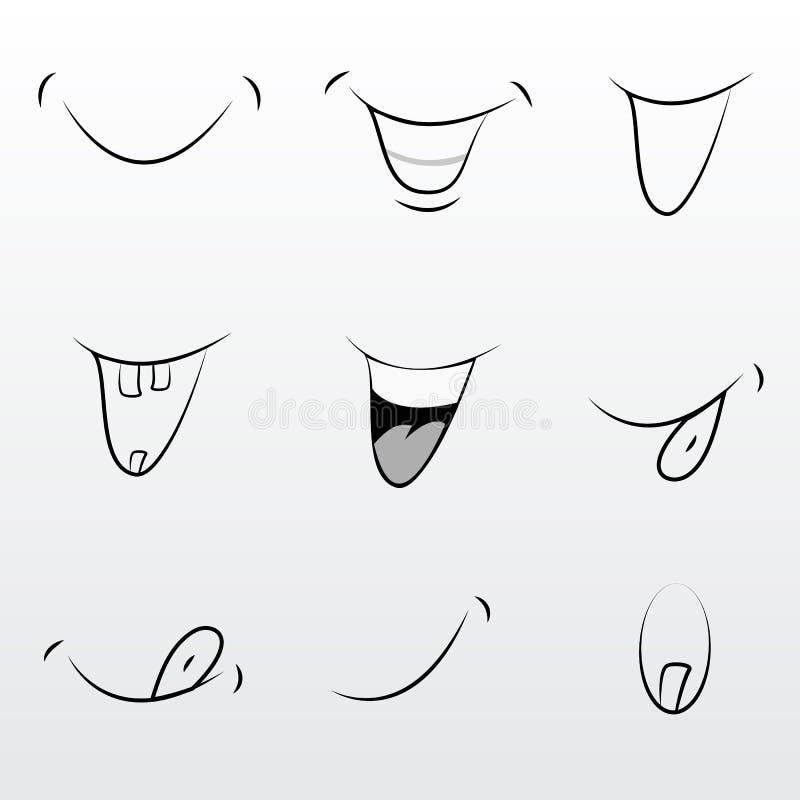 Sistema lindo de la boca moderna de los tebeos libre illustration