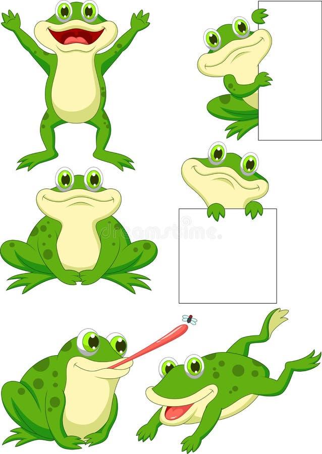 Sistema lindo de la colección de la historieta de la rana stock de ilustración
