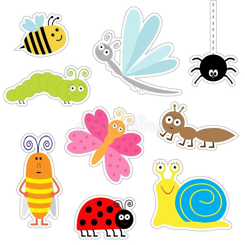 Sistema lindo de la etiqueta engomada del insecto de la historieta Mariquita, libélula, mariposa, oruga, hormiga, araña, cucarach ilustración del vector