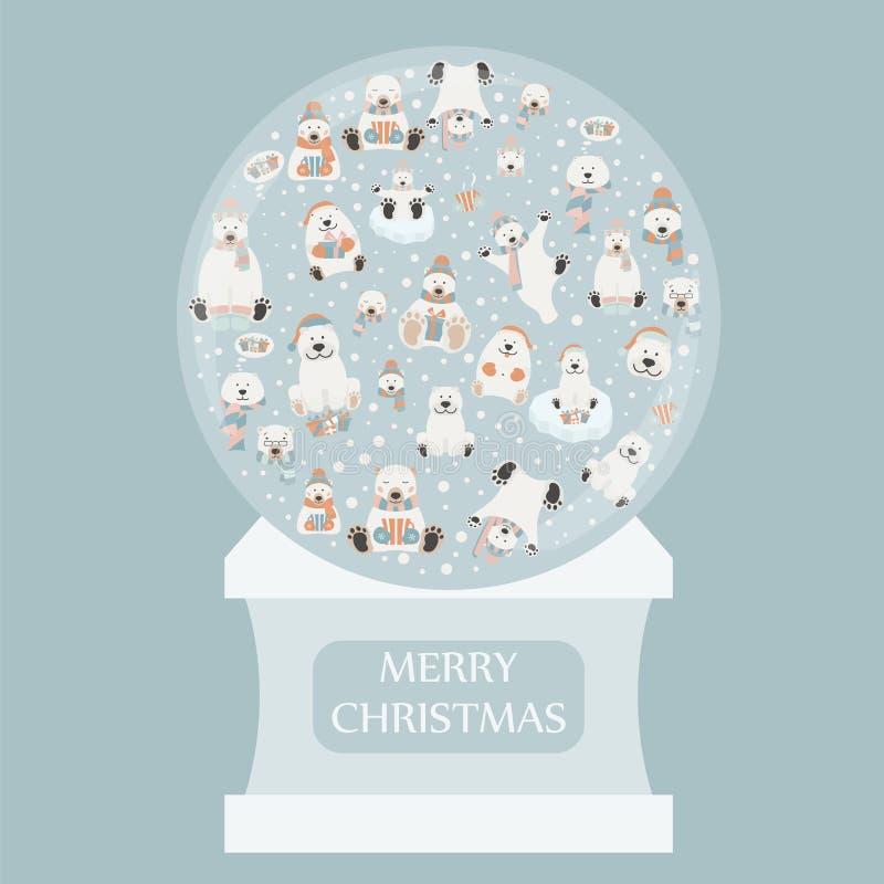 Sistema lindo de la etiqueta engomada del oso polar Diseño del globo de la nieve Elementos para el chr ilustración del vector
