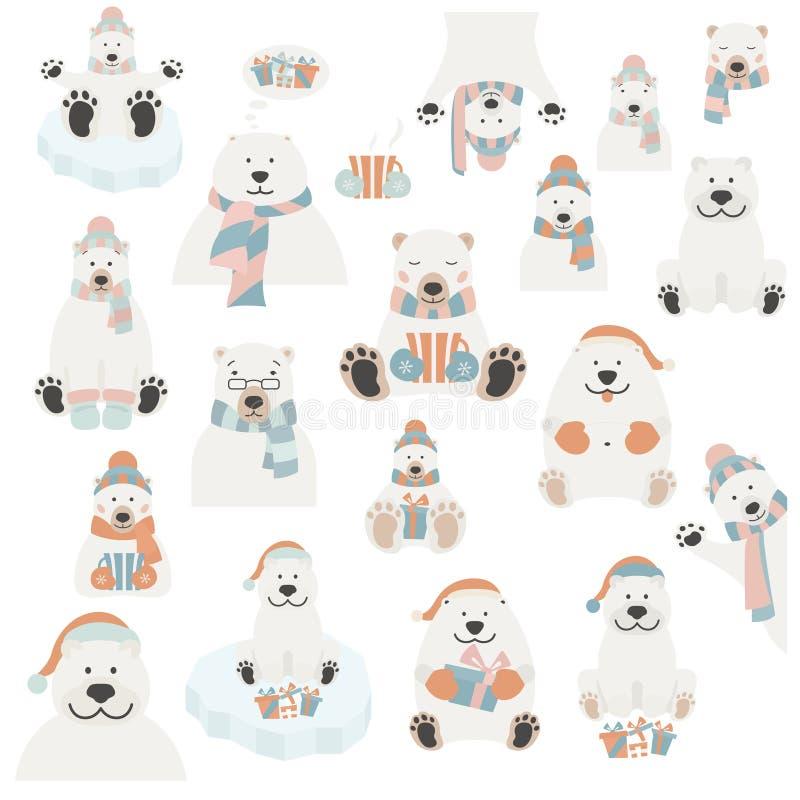 Sistema lindo de la etiqueta engomada del oso polar Elementos para el gree del día de fiesta de la Navidad ilustración del vector