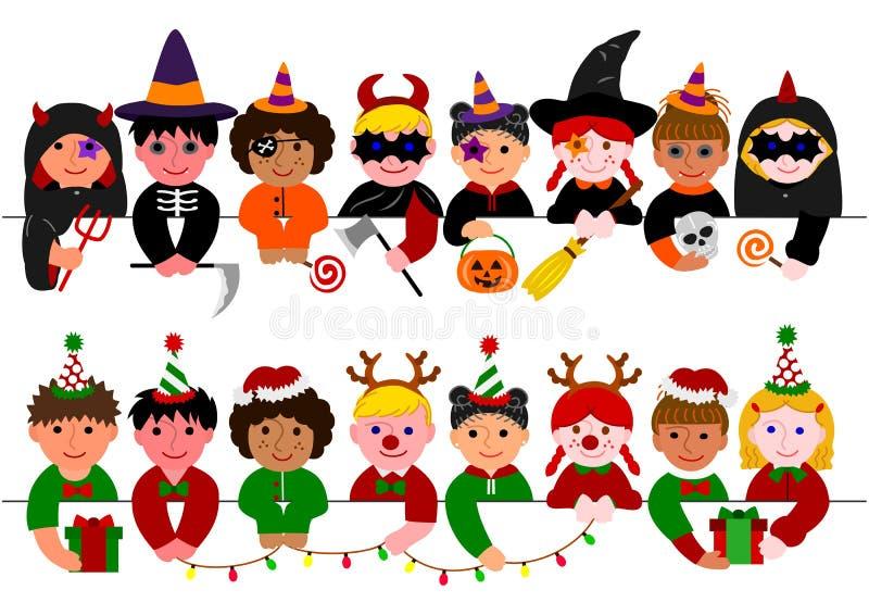 Sistema lindo de la frontera de los niños, con los disfraces de Halloween y con los trajes de la Navidad stock de ilustración