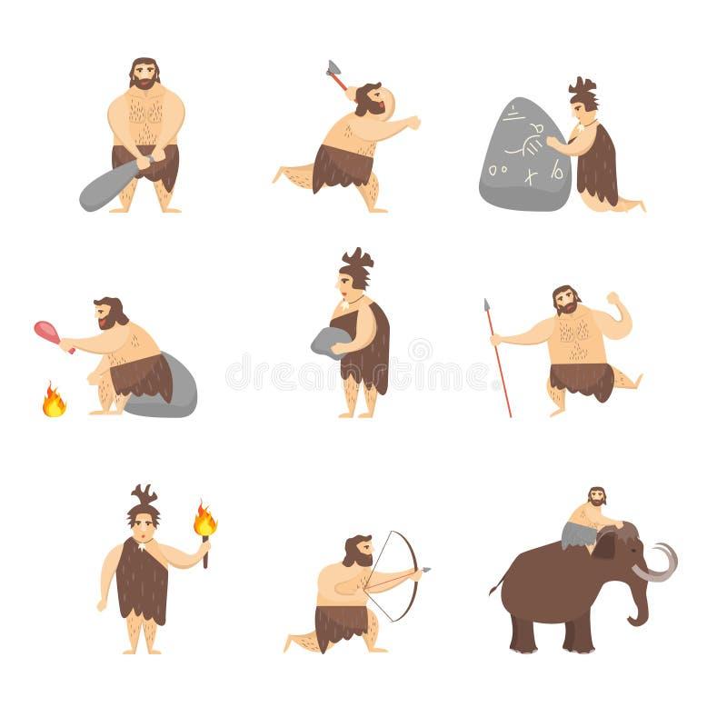 Sistema lindo de la gente del hombre de las cavernas de los personajes de dibujos animados Vector libre illustration