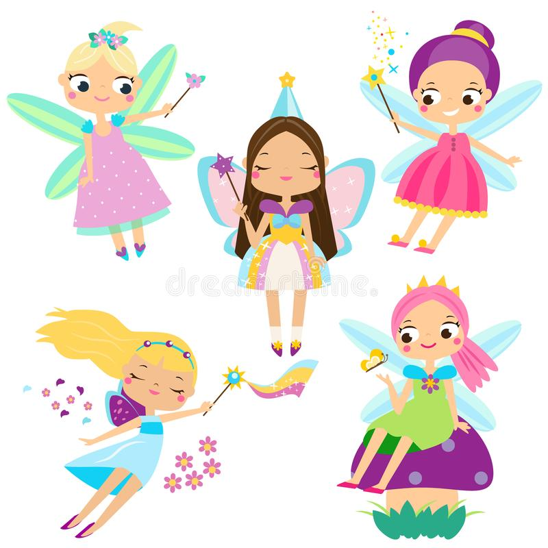 Sistema lindo de la hada Muchacha hermosa en fying los trajes de hadas Princesas coas alas del duende en estilo de la historieta ilustración del vector