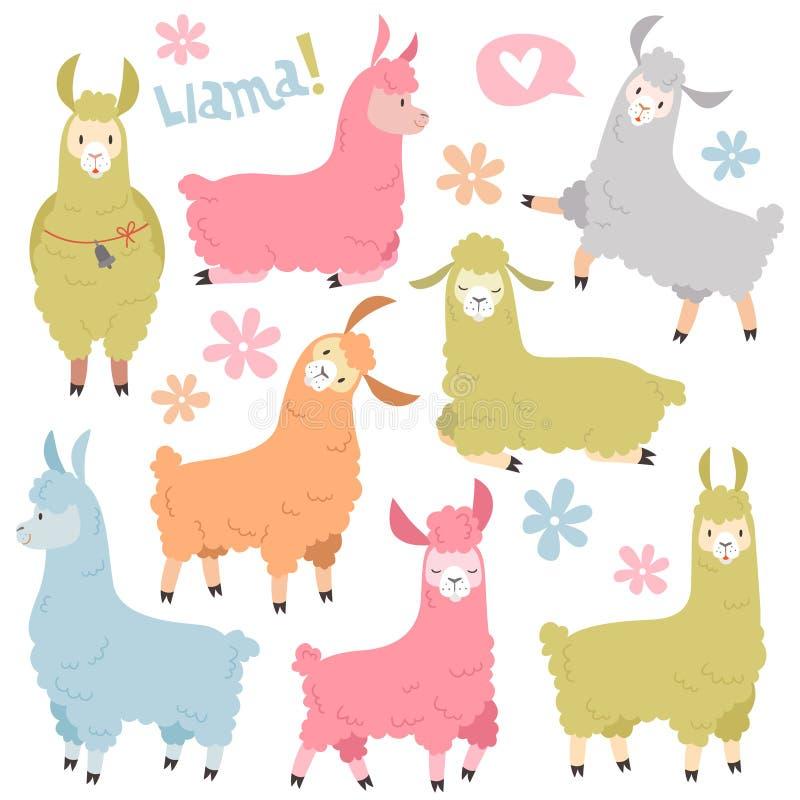 Sistema lindo de la llama Alpaca de las llamas del bebé, lama salvaje Sistema del vector de la historieta de los elementos de la  stock de ilustración