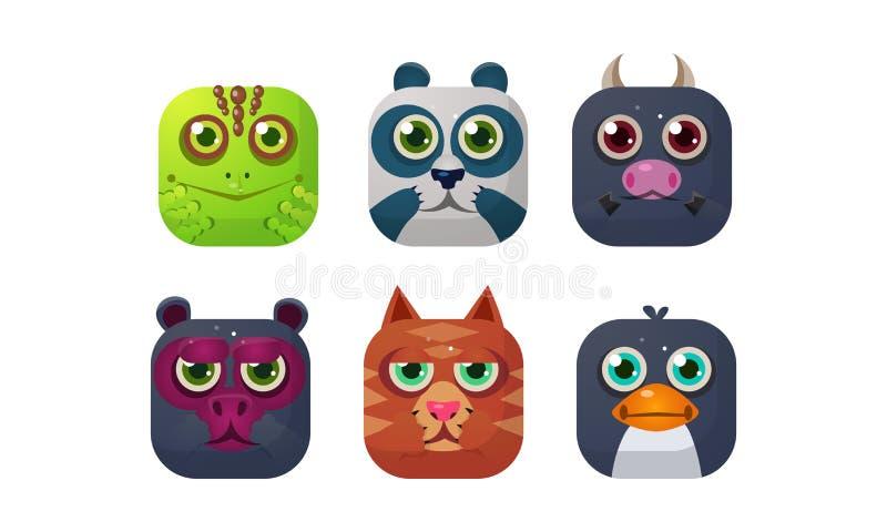Sistema lindo de los animales, iconos cuadrados del app, activos para GUI, diseño web, camaleón, panda, toro, oso, gato, vector d ilustración del vector