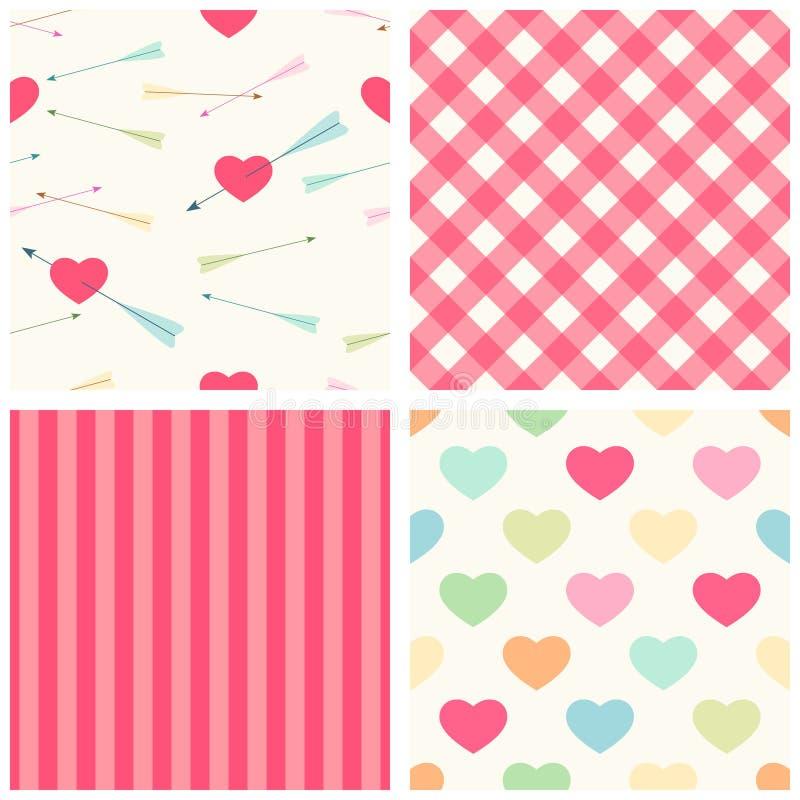 Sistema lindo de modelos inconsútiles del día del ` s de la tarjeta del día de San Valentín en estilo retro con los corazones y l stock de ilustración