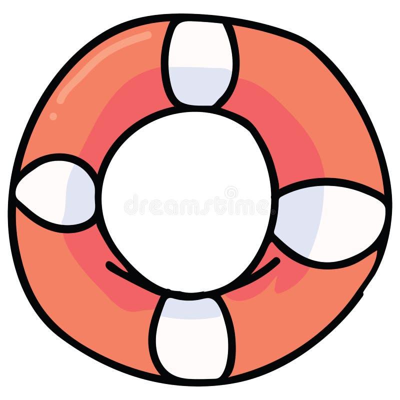 Sistema lindo del adorno del ejemplo del vector de la historieta del salvavidas Clipart lifering aislado exhausto de los elemento stock de ilustración