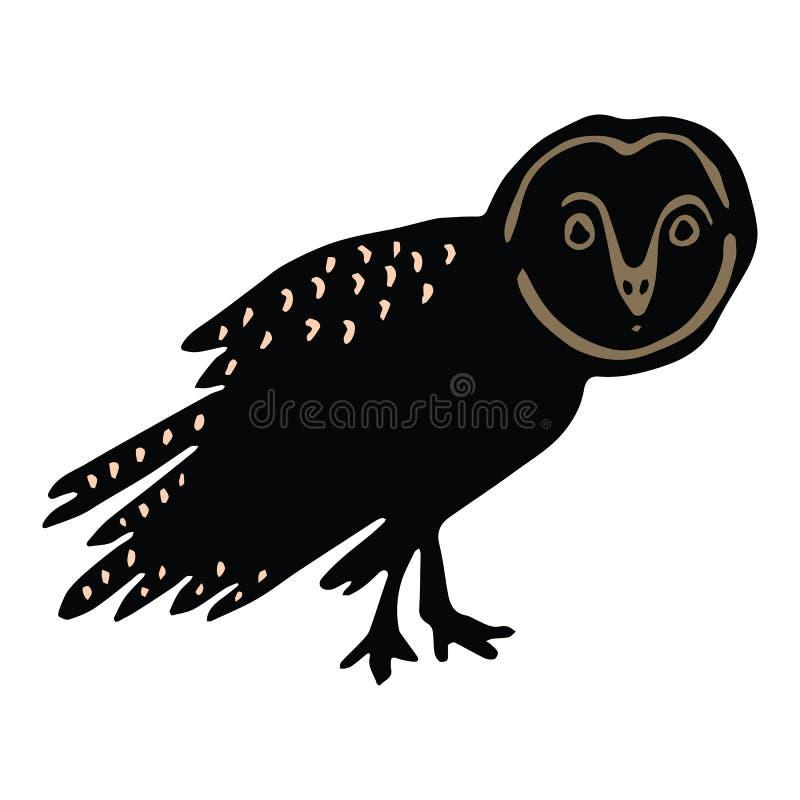 Sistema lindo del adorno del ejemplo del vector de la historieta de la silueta de la lechuza com?n Clipart aviar intrépido exhaus stock de ilustración
