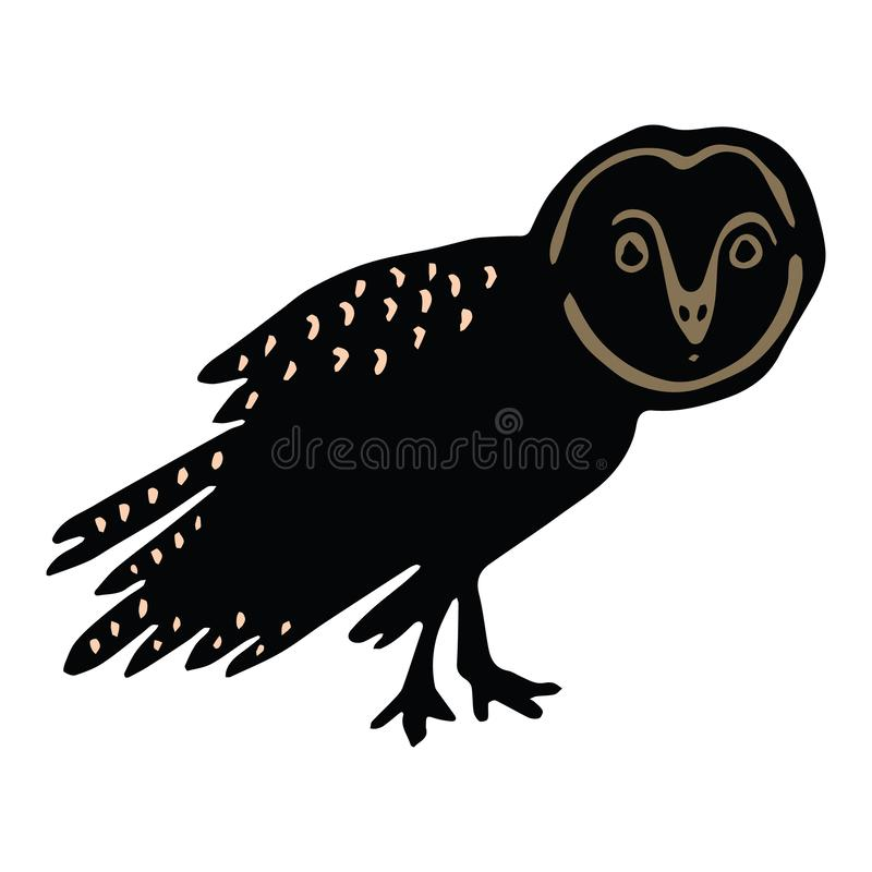 Sistema lindo del adorno del ejemplo del vector de la historieta de la silueta de la lechuza com?n Clipart aviar intr?pido exhaus ilustración del vector