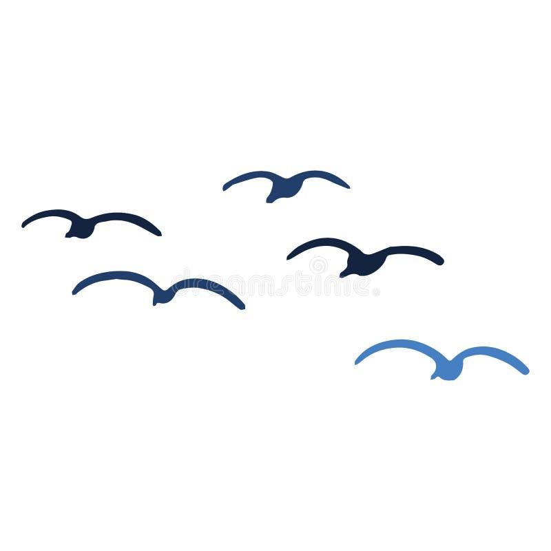 Sistema lindo del adorno del ejemplo del vector de la historieta de la silueta de la multitud de la gaviota Clipart aislado exhau stock de ilustración