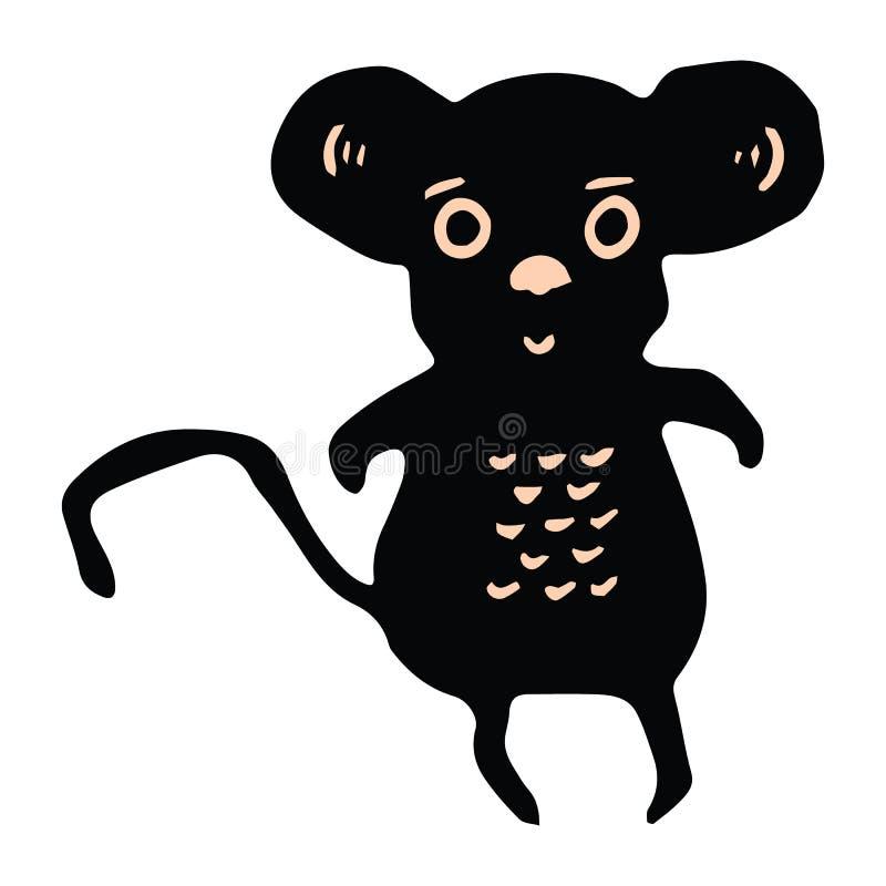 Sistema lindo del adorno del ejemplo del vector de la historieta de la silueta del rat?n Clipart intr?pido exhausto de los elemen stock de ilustración