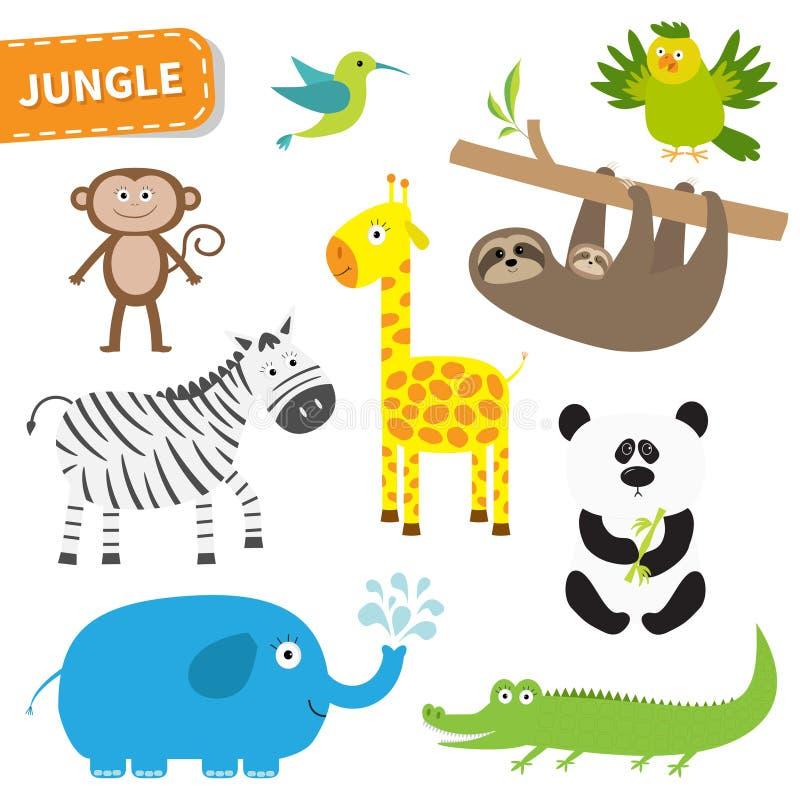 Sistema Lindo Del Animal De La Selva Personaje De Dibujos