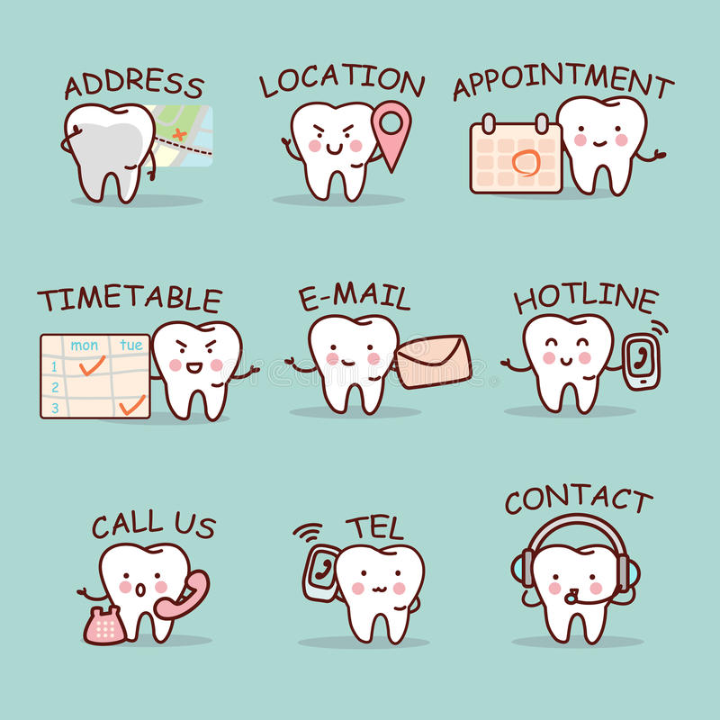 Sistema lindo del diente de la historieta libre illustration