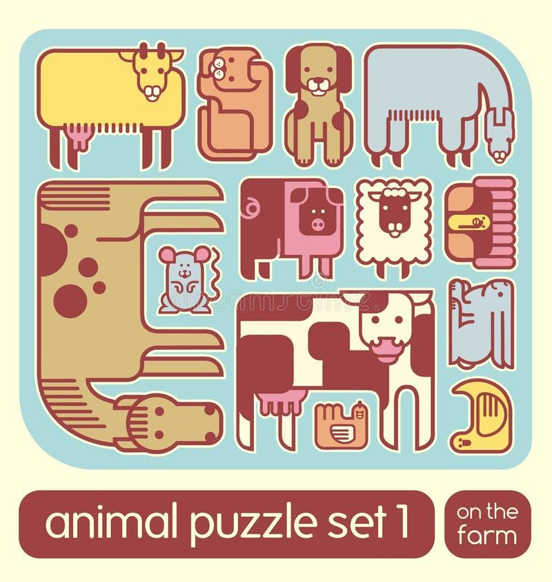 Sistema lindo del rompecabezas de los iconos del animal del campo libre illustration