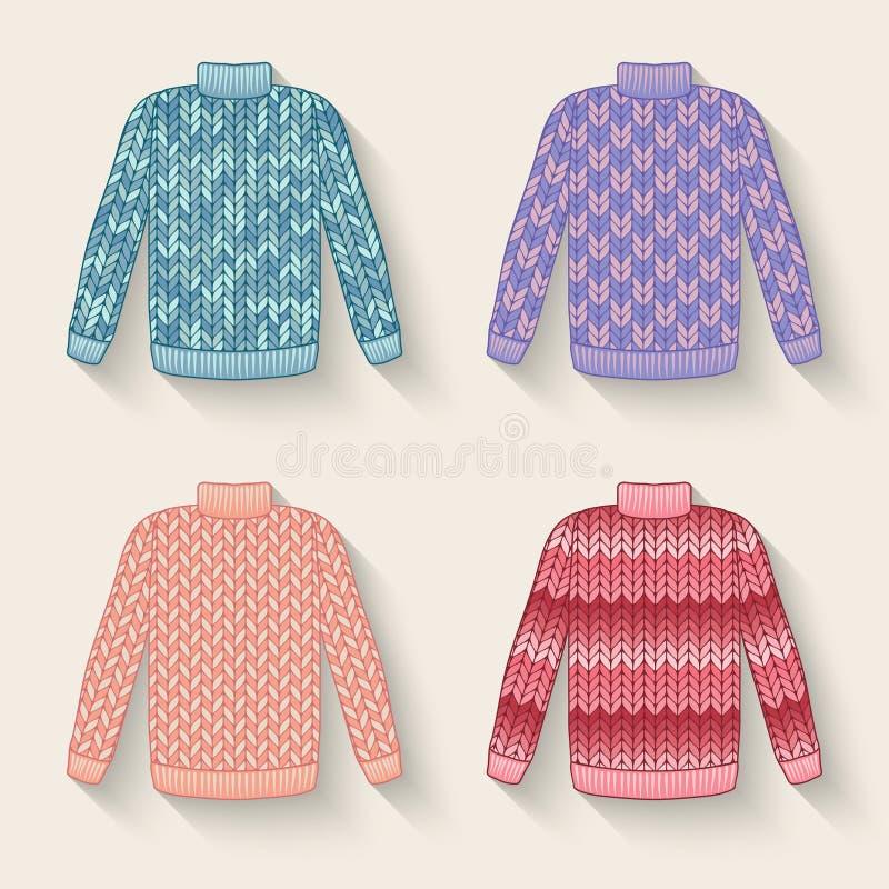Sistema lindo del suéter ilustración del vector